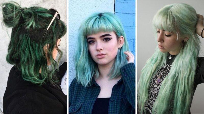 mint hair color, zielone włosy, włosy zielone