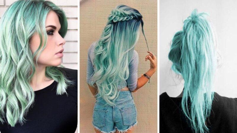 miętowy kolor, miętowe włosy, włosy miętowe