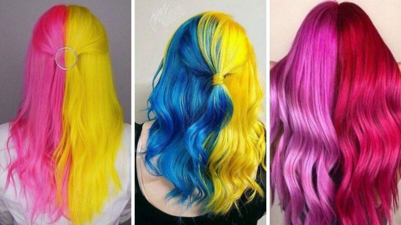 neonowe włosy, kolorowe włosy, żółte włosy, różowe włosy