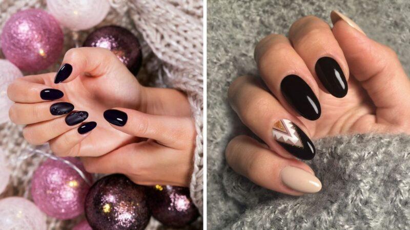 czarna stylizacja na jesień, czarny manicure, manicure na jesień