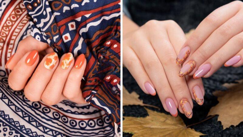 paznokcie z wzrokami w liście, liście na paznokciach