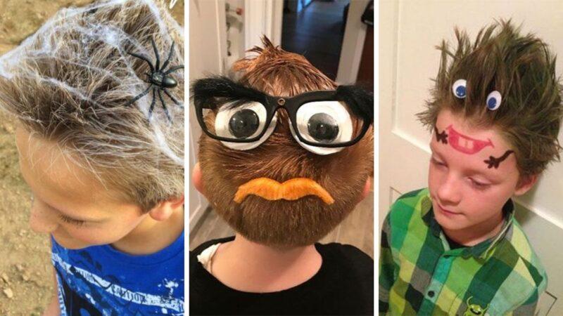 śmieszne fryzury dla chłopców, fryzury dla chłopców na halloween