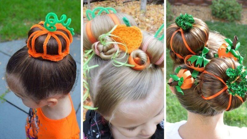 fryzury na halloween, jak zrobić dynię z włosów, dynia na włosach