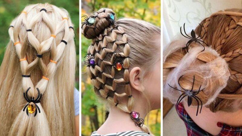 pająki na włosach, ciekawe fryzury dla dziewczynek