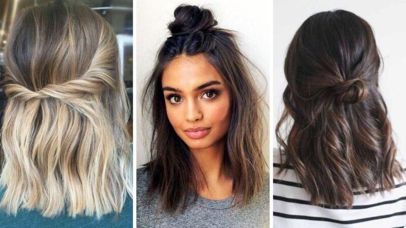half up half down, fryzury dla średnich wlosów, damskie fryzury 2019