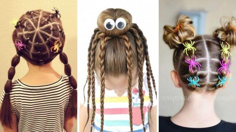 fryzury dla dziewczynek na halloween, pająki na włosach, proste fryzury dla dzieci