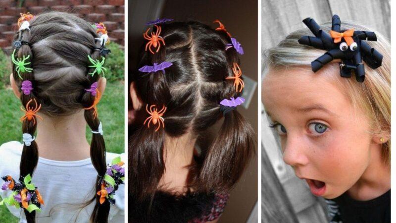 fryzury dla dziewczynek na imprezę, fryzury na halloween dla dzieci