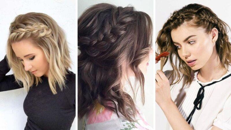 fryzury ze średnich włosów, fryzury damskie 2019, fryzury z warkoczem