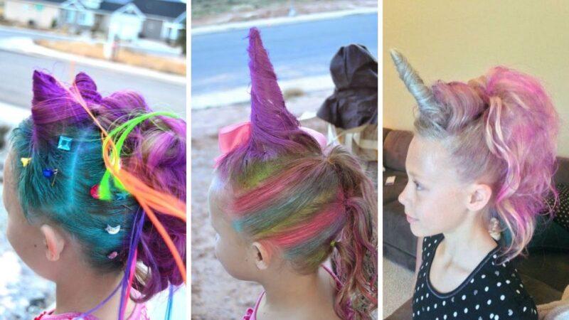 fryzury z jednorożcem, jak zrobić róg jednorożca z włosów, tęczowe włosy