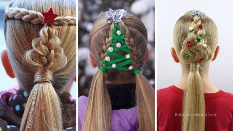 choinka z włosów, fryzury dla dziewczynek