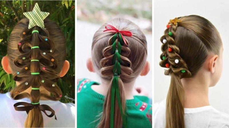 choinka z włosów, ciekawe pomysły na fryzury dla dzieci, fryzury na wigilię