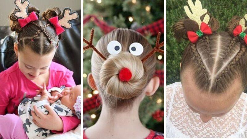 śmieszne fryzury dla dzieci, święta, rudolf, ciekawe fryzury