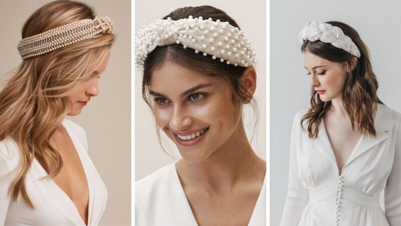 eleganckie opaski, szerokie opaski, fryzury na ślub 2020