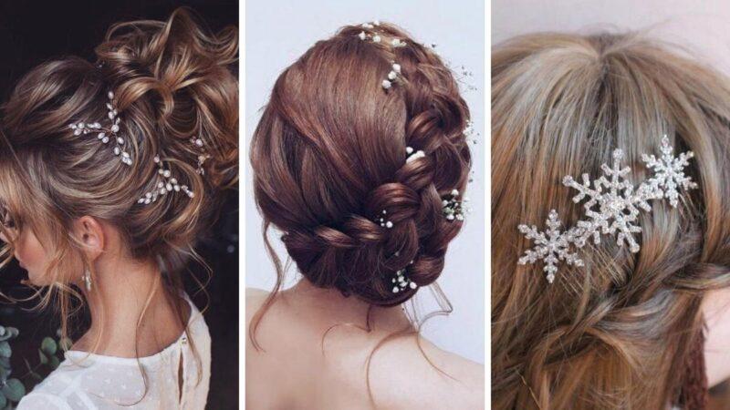 fryzury eleganckie ze spinkami, spinki na wesele