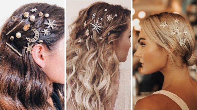 spinki do włosów, eleganckie spinki, dodatki na sylwestra, fryzury na bal