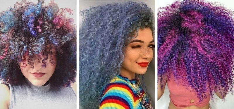 kolorowe włosy, kolorowe loki, afroloki