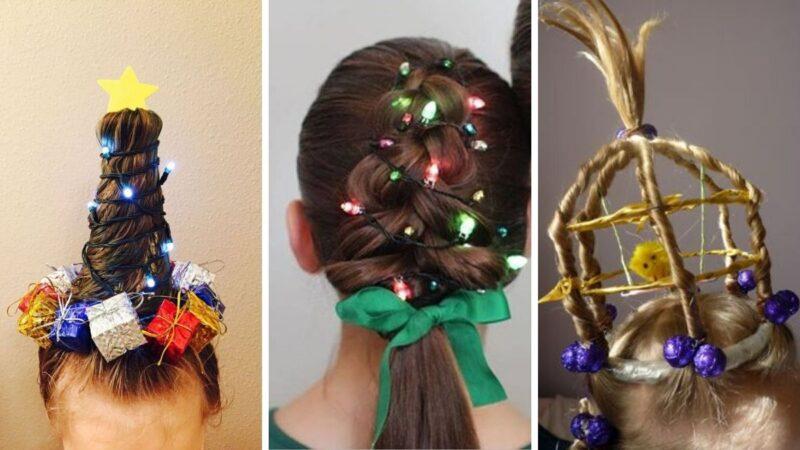 śmieszne fryzury na święta, smieszne fryzury dla dziewczynek, fryzury na wigilię, fryzury na boże narodzenie