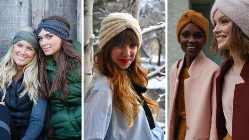 zimowe opaski, dzianinowe opaski, opaska na włosy, opaska na zimę