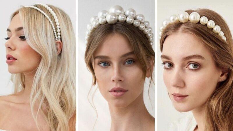 pearl headband, perłowa opaska