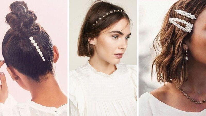 spinki z perłami, perłowe spinki, perły we włosach