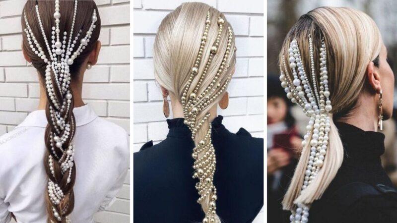 fryzury z perłami, fryzury na sylwestra 2019/2020