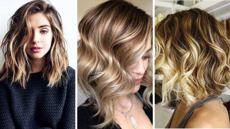 średnie włosy baleyage, balejaż na średnich włosach