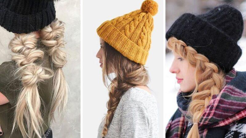 warkocze na zimę, warkocz z czapką