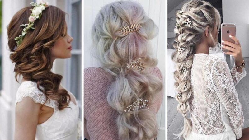 warkocz elegancki, warkocz na wesele, fryzury na ślub długie włosy