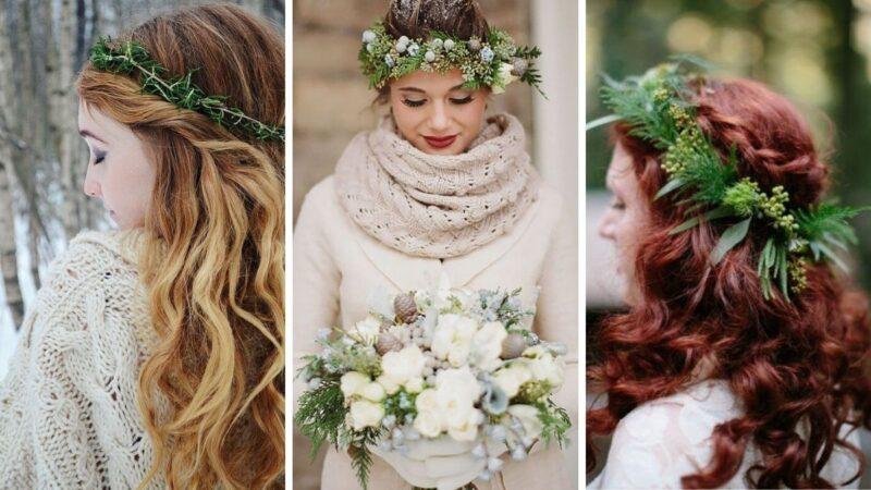 wesele w zime, fryzury na wesele w zimę