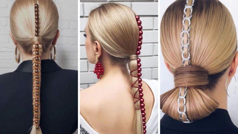 czerwone perły, eleganckie fryzury, fryzury na bal