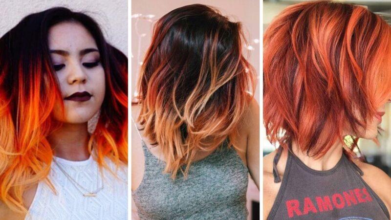 kolorowe włosy, neonowe włosy, czerwone włosy, pomarańczowe włosy