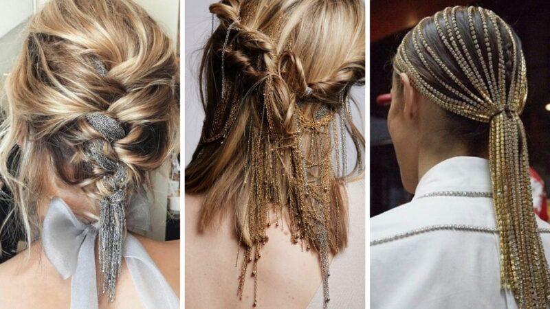 łańcuszki we włosach, eleganckie fryzury