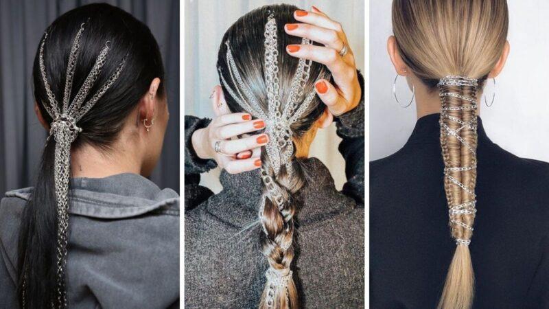 łańcuszki we włosach, pomysły na damskie fryzury, rockowe fryzury