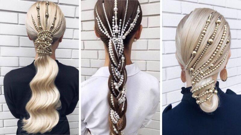 perły we włosach, perły na włosy, ozdoby z pereł, eleganckie fryzury