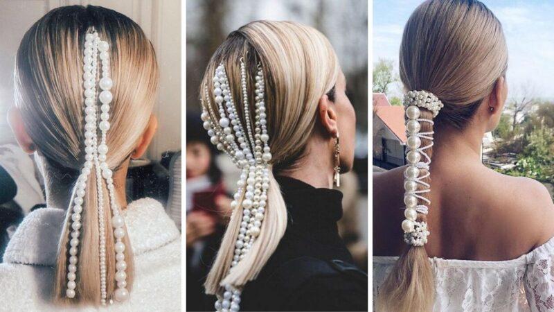 elegancki kucyk, fryzura glamour, elegancka kitka, fryzury na karnawał