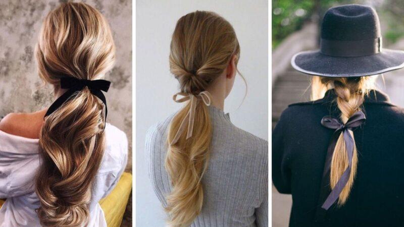 kokardy do włosów, trendy 2020, fryzury z kokardą