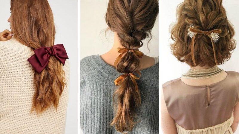 fryzury z kokardą do włosów, fryzury dla dlugich włosów, jak modnie nosić kokardę