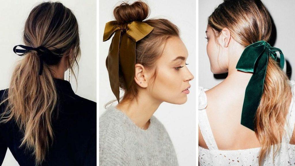 fryzury z kokardą, kokardy do włosów, kokarda do włosów, eleganckie fryzury damskie, fryzury dla kobiet
