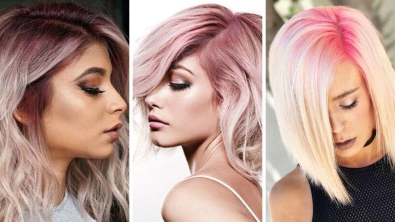 kolorowe odrosty, platynowe włosy, różowe włosy