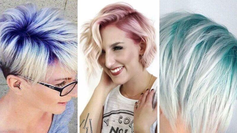 krótkie kolorowe włosy, krótkie włosy fryzury