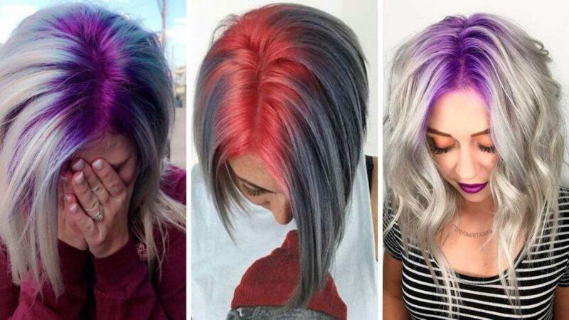 kolorowe włosy, kolorowe odrosty, kolorowy przedziałek