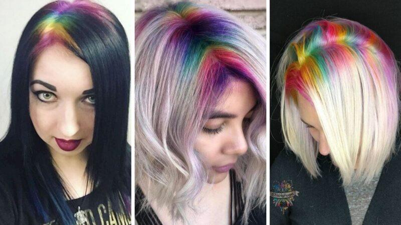 rainbow roots, tęczowe włosy, kolorowy przedziałek, tęczowy odrost