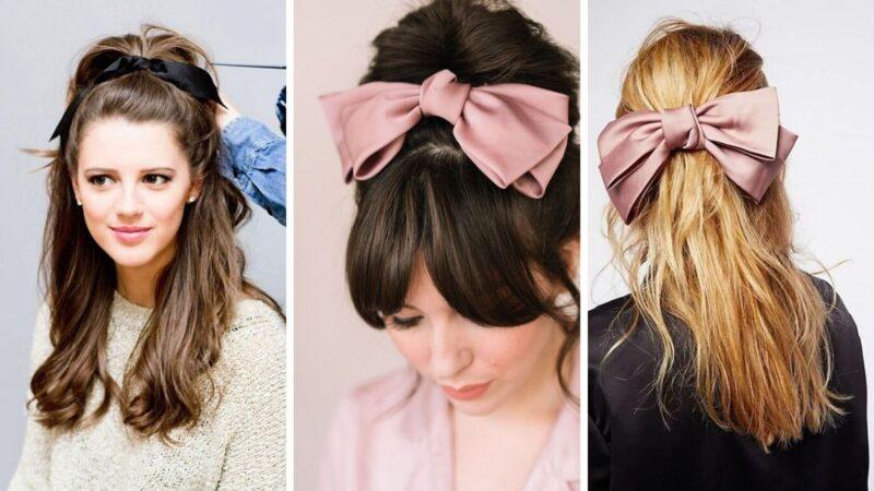 kokardka do włośów wysoko, fryzury z kokardami, modne damskie fryzury