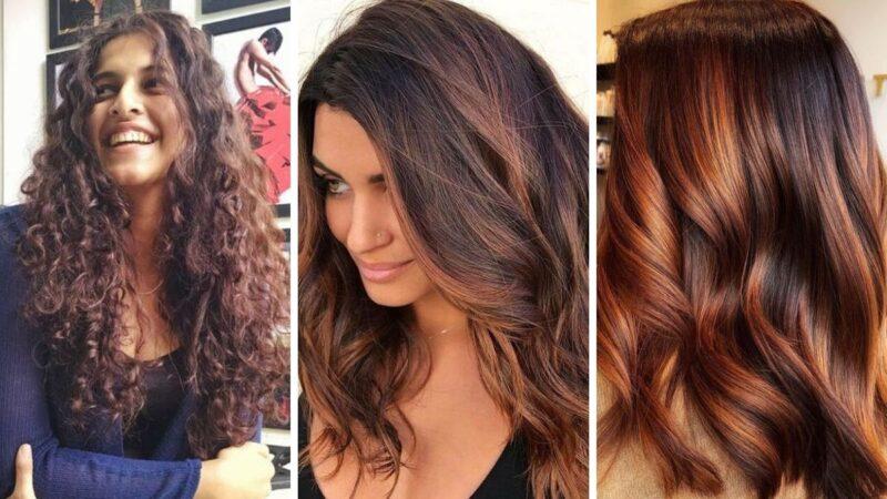 modne kolory włosów 2020, koloryzacja dla szatynek, ciemne włosy
