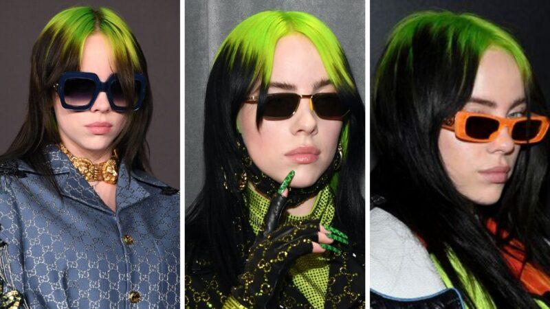 bold roots, zielone włosy, kolorowe wlosy, fryzura billie eilish, billie eilish styl
