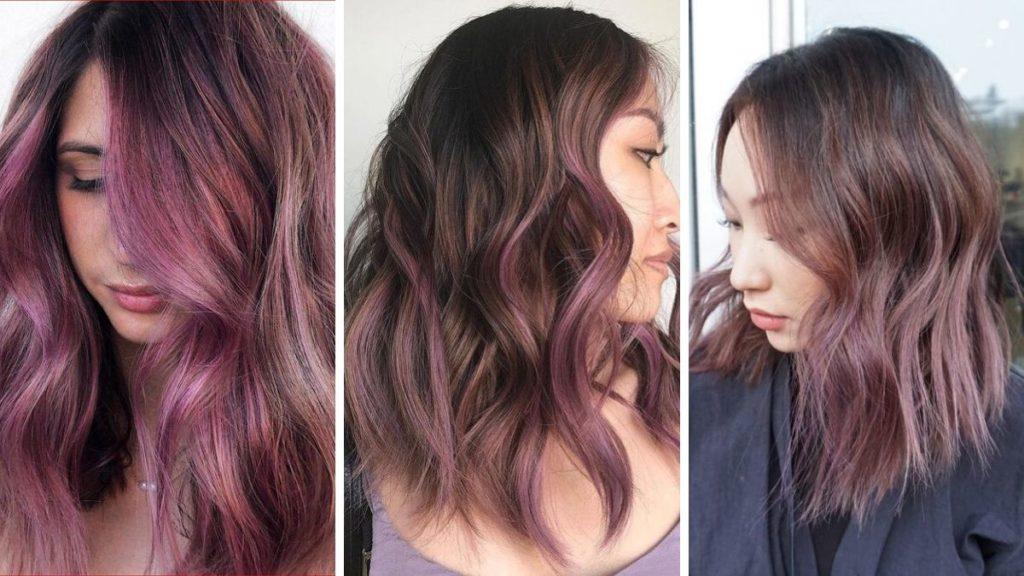 chocolate lilac hair, czekoladowe włosy, fiolerowe wlosy, kolorowe pasemka, liliowe wlosy, czekoladowo-liliowe włosy, czekoladowo-fioletowe włosy, trendy wiosna 2020