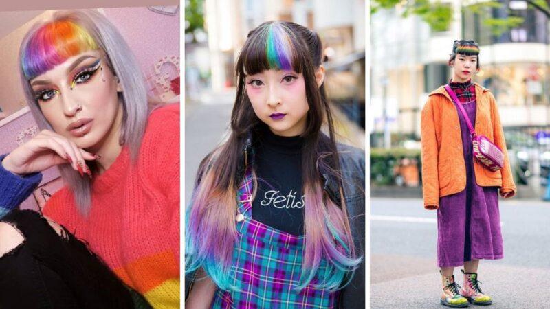 kolorowa grzywka, kolorowe włosy