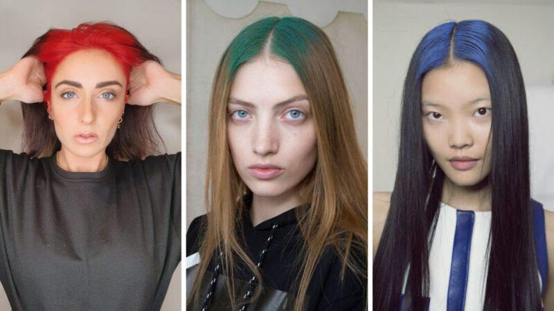 kolorowy odrost, kolorowy przedziałek, farbowanie wlosó u nasady, kolorowe włosy, bold roots, trendy 2020