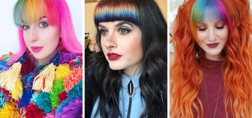 rainbow bangs, tęczowa grzywka, kolorowa grzywka, włosy z kolorową grzywką