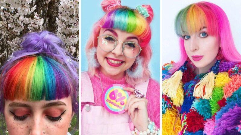 kolorowe włosy, tęczowe włosy, pastelowe włosy, rainbow bangs, kolorowa grzywka